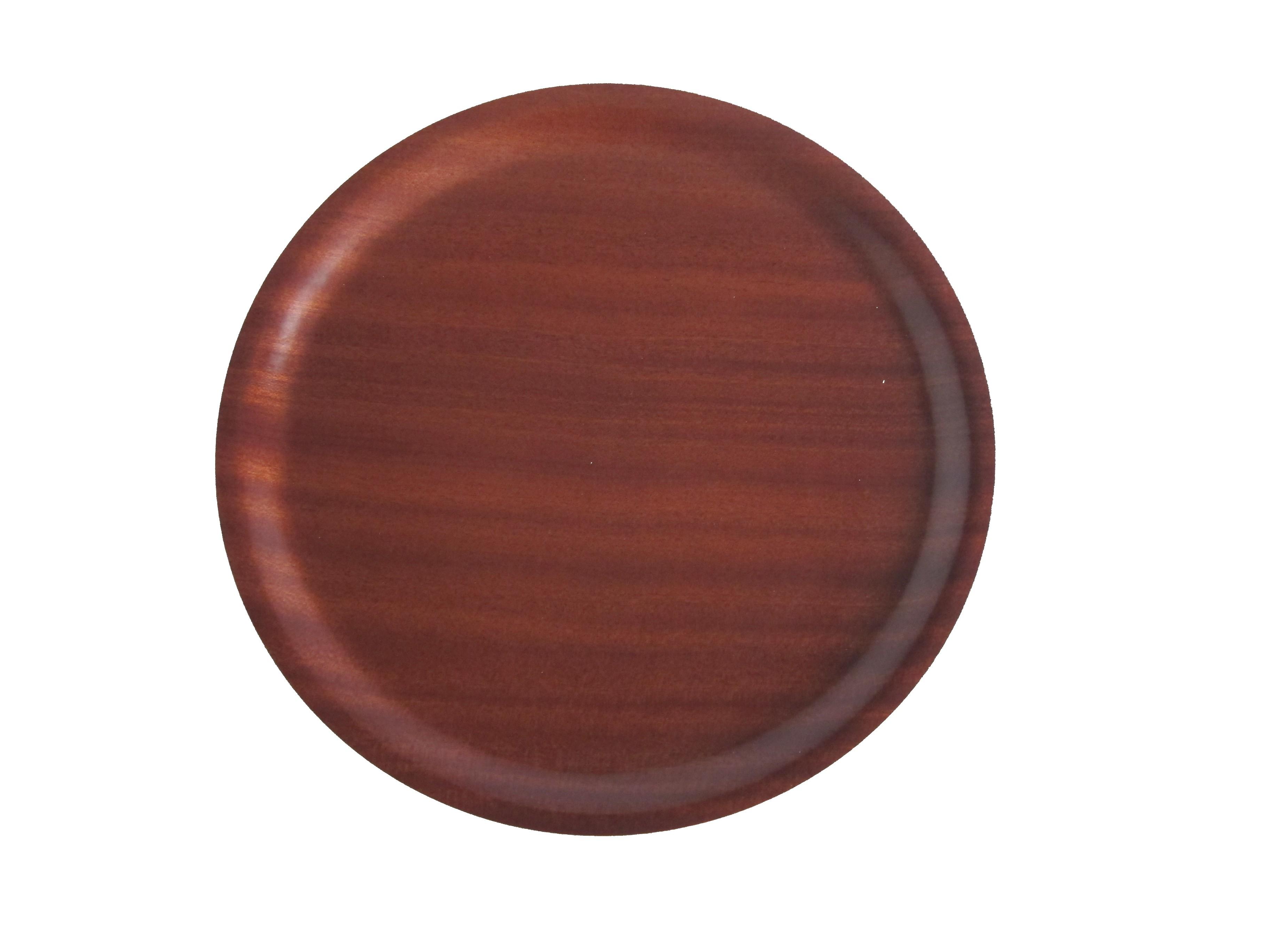 Mahogany Round Wood Tray