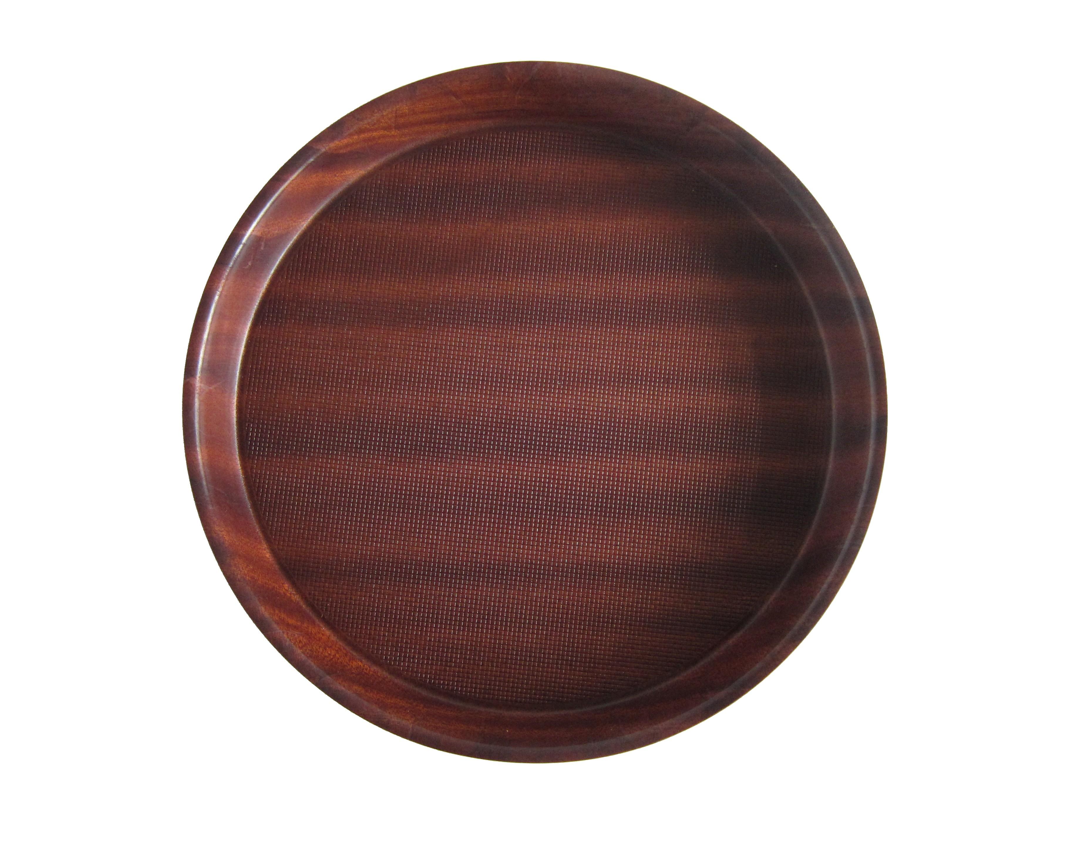 Mahogany Round Wood Tray Non-Slip